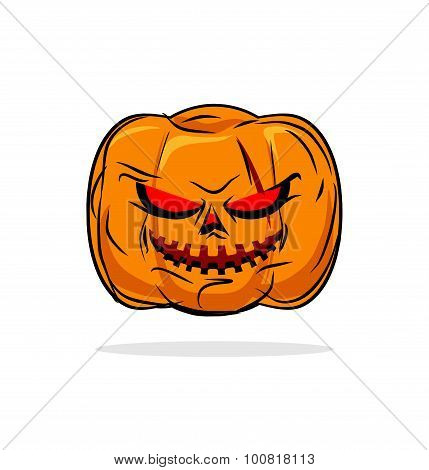 Terrible Pumpkin Halloween Symbol. Vegetables On A White Background. Vector Illustration For Holiday