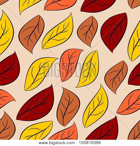 Autumn Leaves Seamless Pattern. Vector Natural Background Of Yellow And Red Foliage. Retro Fabric Or