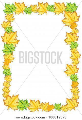 Decorative Autumn Border Frame With Color Leaf