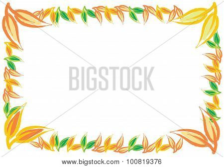 Decorative Autumn Border Frame With Color Leaf
