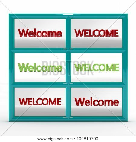 Set of six 3d labels - welcome. Large letters on a homogeneous background