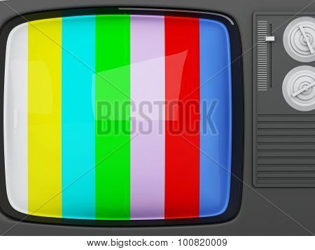 3D Retro Tv -colorful No Signal Background