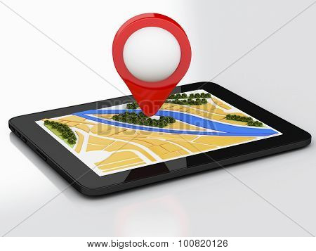 3D Tablet Pc With Navigator Map And Pointer Marker On City.