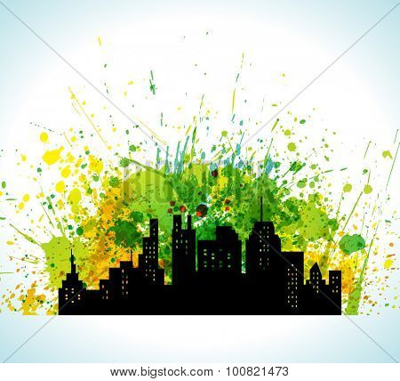 Color Paint Splashes Eco Green City Silhouette Background