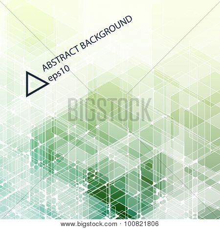 Abstract green background. Hexagonal pattern structure. Vector image.