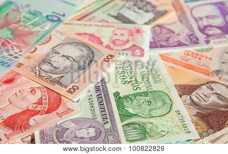 Variety of South American banknotes