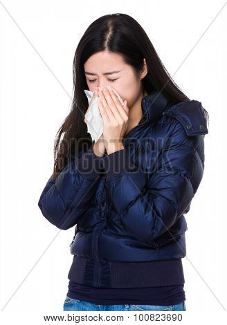 Young woman runny nose
