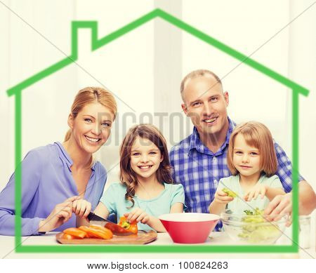 food, family, children, happiness and people concept - happy family with two kids making dinner at home behind green house symbol