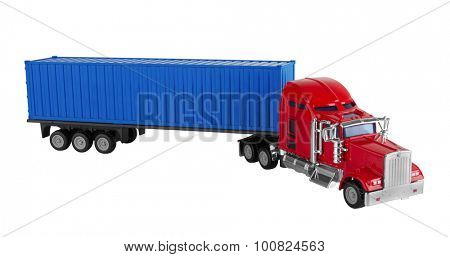 Truck with cargo container isolated on white background. Model.