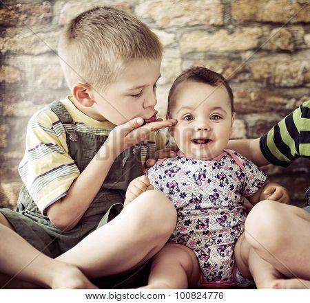 Two little children posing