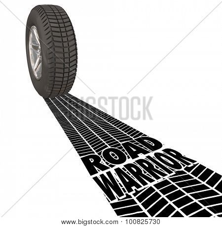 Road Warrior words in tire tracks behind a wheel to illustrate a traveling salesperson who works away from home or traveler working outside the office