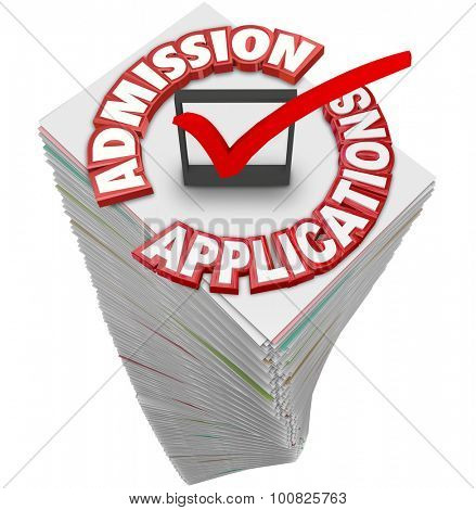 Admission Applications 3d red words on a stack or pile of paperwork or documents from students applying to attend a college, university or school