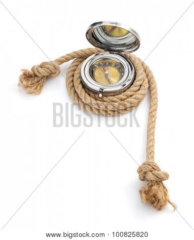 ship rope and compass isolated on white background