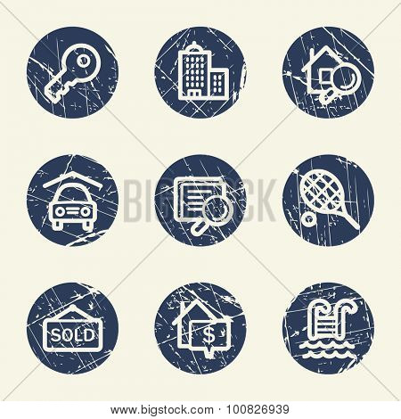 Real estate web icons, grunge circle buttons
