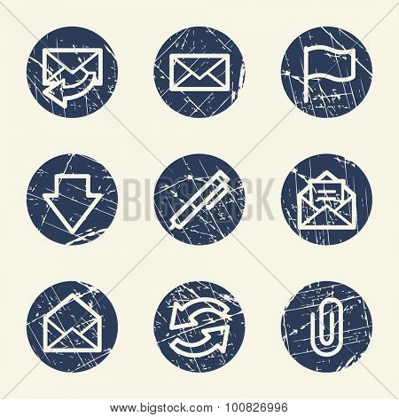 E-mail web icons, grunge circle buttons