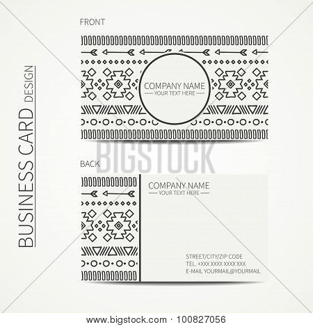 Geometric monochrome business card template with ethnic pattern for your design. Tribal native busin