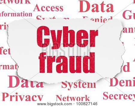 Safety concept: Cyber Fraud on Torn Paper background