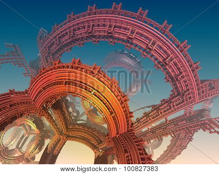 Abstract background, fantastic 3D lines, fractal SciFi design.