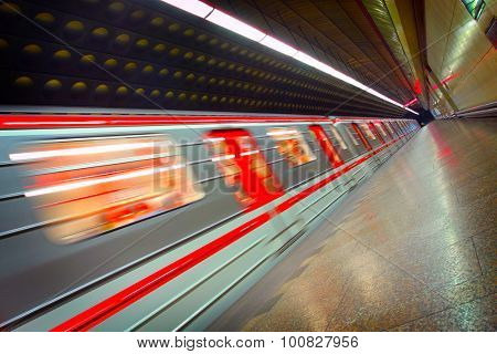 Moving metro train