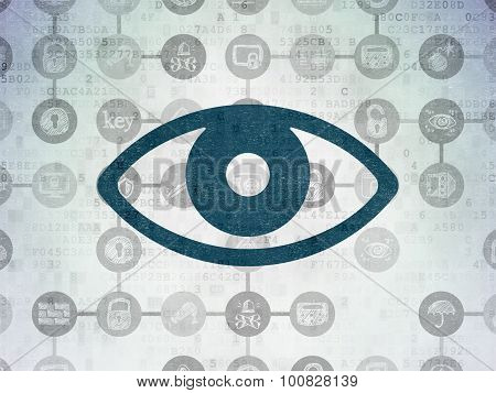Protection concept: Eye on Digital Paper background