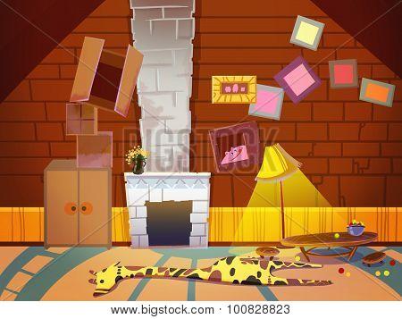 Living Room With A Funny Giraffe Carpet