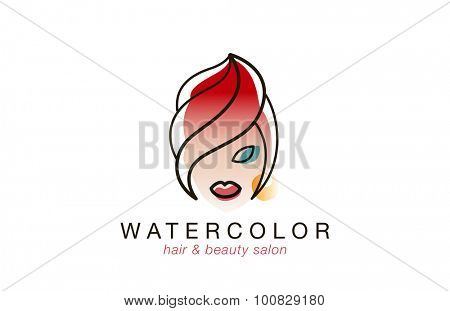 Woman face Logo watercolor style for Beauty Spa Hair Salon vector design template.