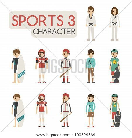Set Of Cartoon Sport Characters