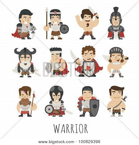 Set Of Warrior Costume Characters