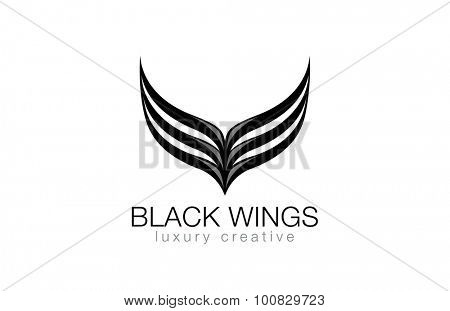 Elegant Black Wings as V letter Luxury Abstract Business Fashion Logo design vector template. Abstraction logotype concept icon.
