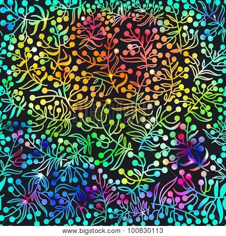 Rainbow abstract vector background with  doodle flowers.Vector illustration