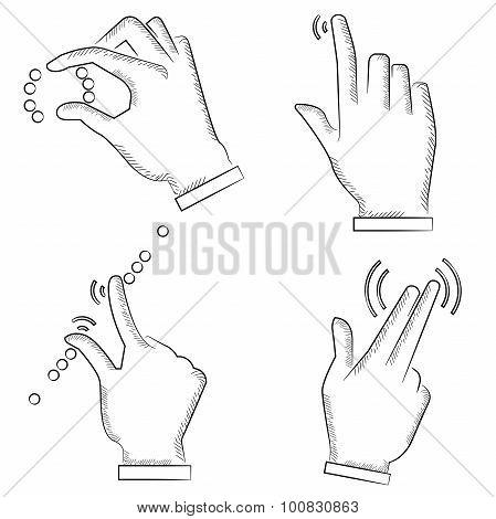 sketch hand touching screen symbol