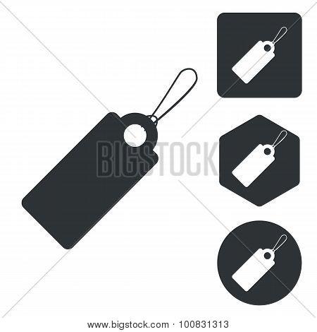 String tag icon set, monochrome