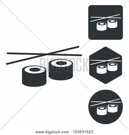 Sushi icon set, monochrome