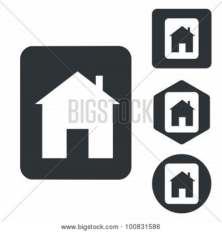 House plate icon set, monochrome