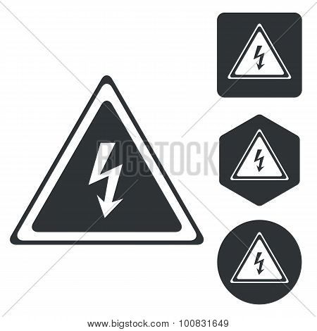 High voltage icon set, monochrome