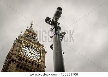 Cctv Cameras And Big Ben London Landmark