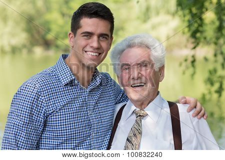 Retired Man And His Grandson