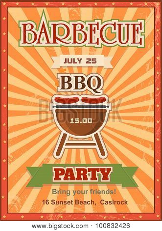 Invitation card on the barbecue design template Cookout poster with charcoal grill sausages, forks a