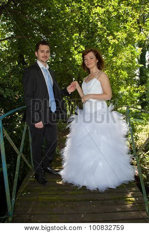 Newly Lovely Wedding Couple Happy In The Country