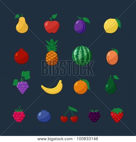 Vector Icons Fruits and Berries in Flat Style Set Isolated over Dark Background