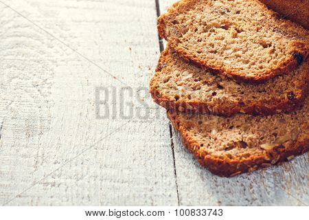 Slices Of Grain Bread On The Boards