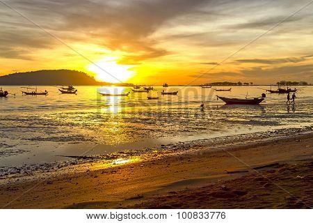 Sunrise Silhouette Boat