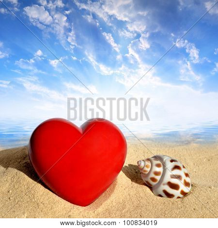 Conch shell with heart on beach in the sunset