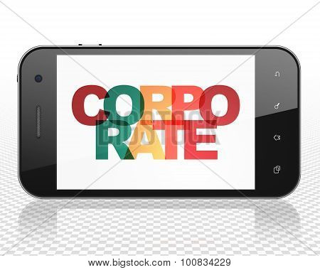 Business concept: Smartphone with Corporate on  display