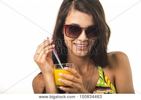 Pretty lady with orange juice.