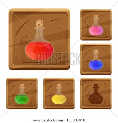 Set of colorful cartoon wooden icons with elixirs and potions for the design of mobile games and bro