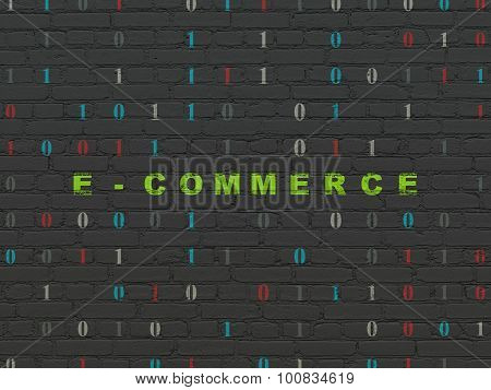 Finance concept: E-commerce on wall background