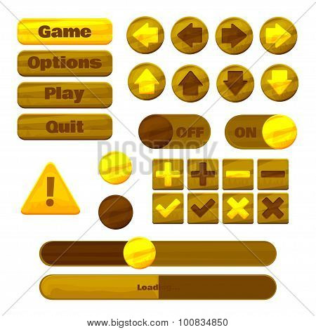 Universal yellow UI Kit for designing responsive gaming applications and mobile online games, websit