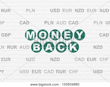 Business concept: Money Back on wall background