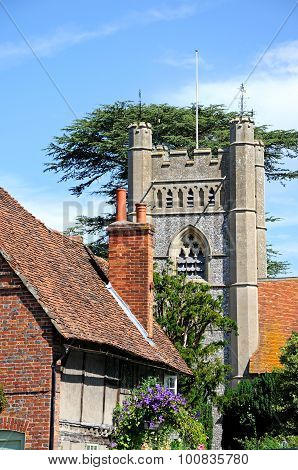 Hambledon church and cottage.